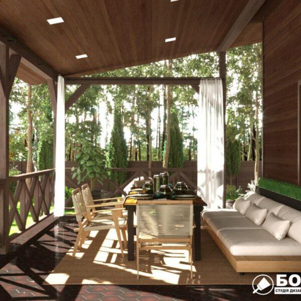 Дизайн-проект приватного будинку, тераса вид зліва