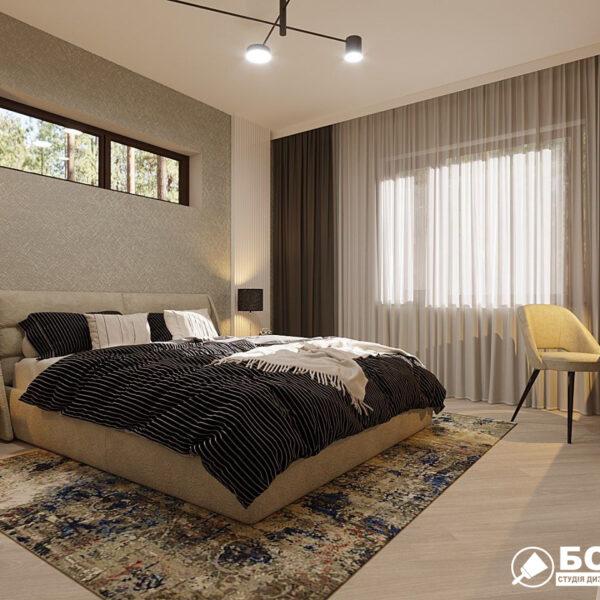 Дизайн-проект частного дома, спальня вид сбоку