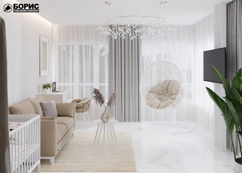 Дизайн-проект интерьера дома пгт Бабаи, терраса вид справа