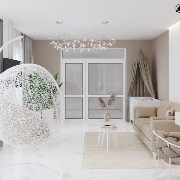 Дизайн-проект интерьера дома пгт Бабаи, терраса вид слева