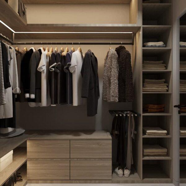 """Дизайн-проект трикімнатної квартири ЖК """"Віденський дім"""". гардеробна вид спереду"""