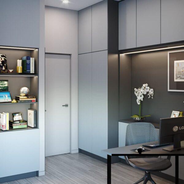 """Дизайн-проект трикімнатної квартири ЖК """"Віденський дім"""", кабінет вид ззаду"""