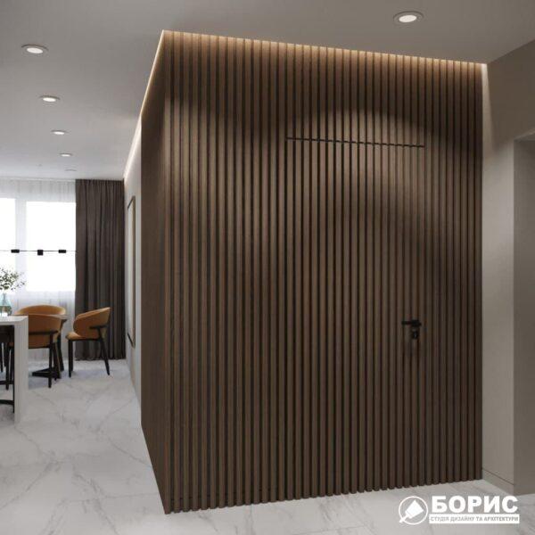 """Дизайн-проект трикімнатної квартири ЖК """"Віденський дім"""", кухня вид з коридору"""