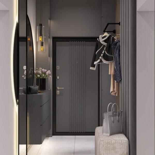 """Дизайн-проект трикімнатної квартири ЖК """"Віденський дім"""", передпокій вид спереду"""
