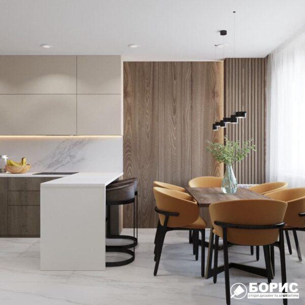 """Дизайн-проект трикімнатної квартири ЖК """"Віденський дім"""", кухня вид збоку"""