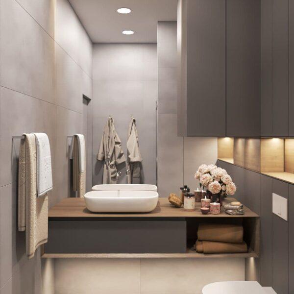"""Дизайн-проект трикімнатної квартири ЖК """"Віденський дім"""". санвузол №2 вид спереду"""