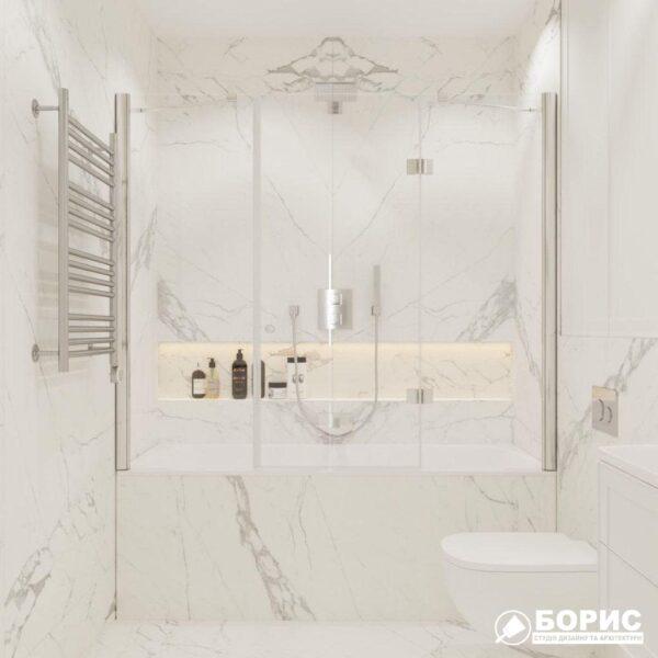 """Дизайн-проект трикімнатної квартири ЖК """"Віденський дім"""", санвузол №1 вид спереду"""