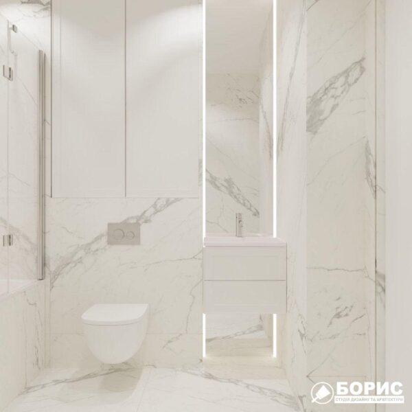 """Дизайн-проект трикімнатної квартири ЖК """"Віденський дім"""", санвузол №1 вид справа"""
