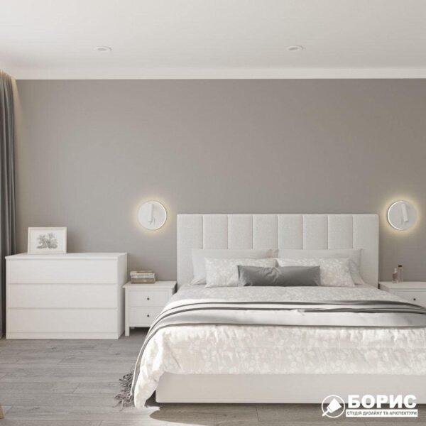 """Дизайн-проект трикімнатної квартири ЖК """"Віденський дім"""", спальня вид спереду"""