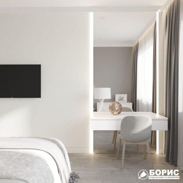 """Дизайн-проект трикімнатної квартири ЖК """"Віденський дім"""", спальня вид ззаду"""