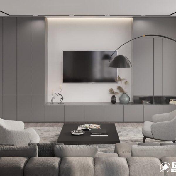 """Дизайн-проект трикімнатної квартири ЖК """"Віденський дім"""". вітальня вид ззаду"""