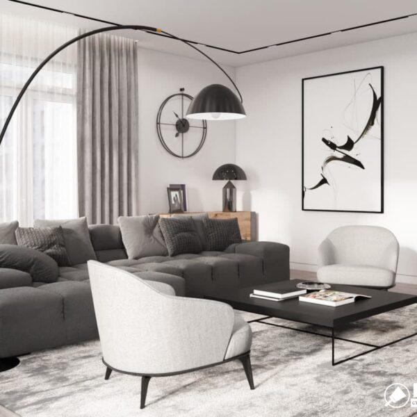 """Дизайн-проект трикімнатної квартири ЖК """"Віденський дім"""", вітальня вид справа"""