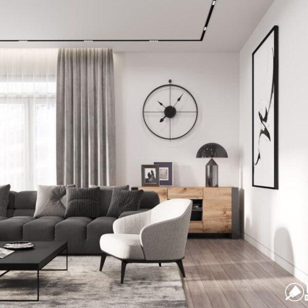 """Дизайн-проект трикімнатної квартири ЖК """"Віденський дім"""", вітальня вид зліва"""
