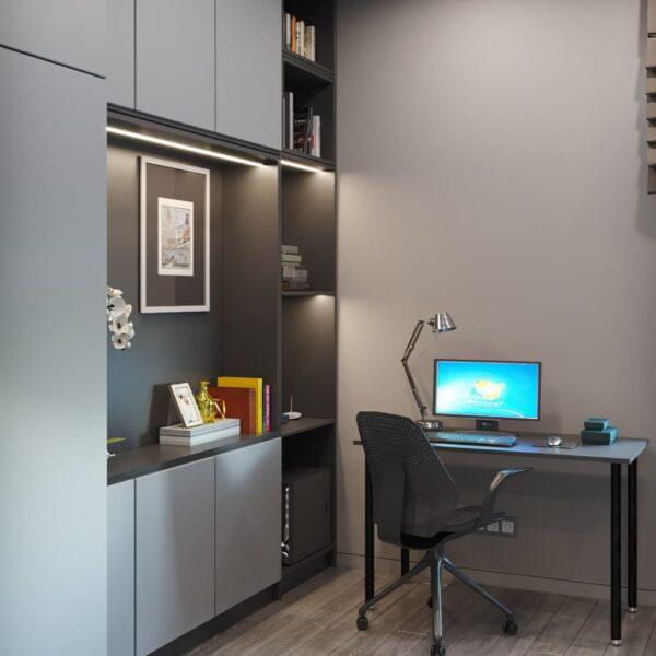 """Дизайн-проект трикімнатної квартири ЖК """"Віденський дім"""", кабінет вид спереду"""
