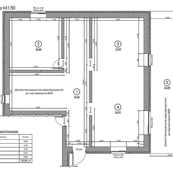 Дизайн інтер'єру двоповерхового будинку м. Вовчанськ, план обмірний 1й поверх
