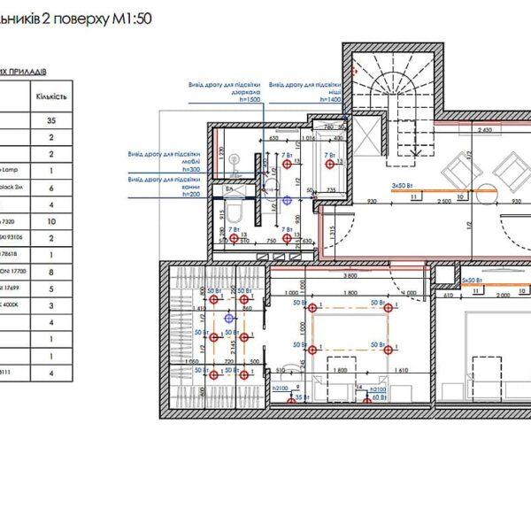 Дизайн інтер'єру двоповерхового будинку м. Вовчанськ, план розміщення світильників 2й поверх