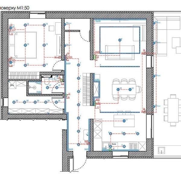 Дизайн інтер'єру двоповерхового будинку м. Вовчанськ, план груп освітлення 1й поверх