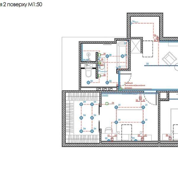 Дизайн інтер'єру двоповерхового будинку м. Вовчанськ, план груп освітлення 2й поверх