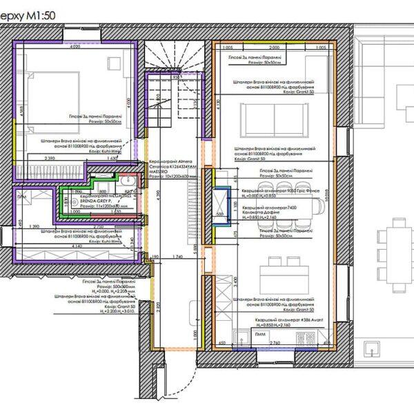 Дизайн інтер'єру двоповерхового будинку м. Вовчанськ, план оздоблення стін 1й поверз