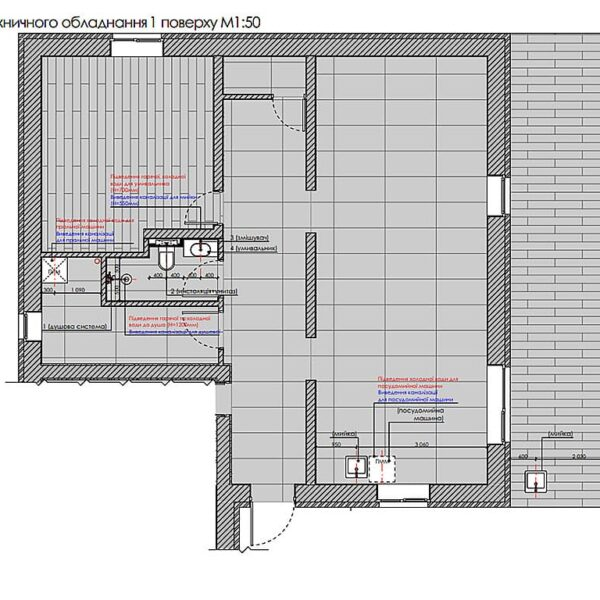 Дизайн інтер'єру двоповерхового будинку м. Вовчанськ, план сантехнічного обладнання 1й поверх