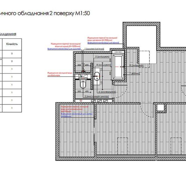 Дизайн інтер'єру двоповерхового будинку м. Вовчанськ, план сантехнічного обладнання 2й поверх