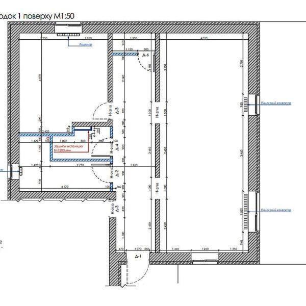 Дизайн інтер'єру двоповерхового будинку м. Вовчанськ, план монтажу 1й поверх
