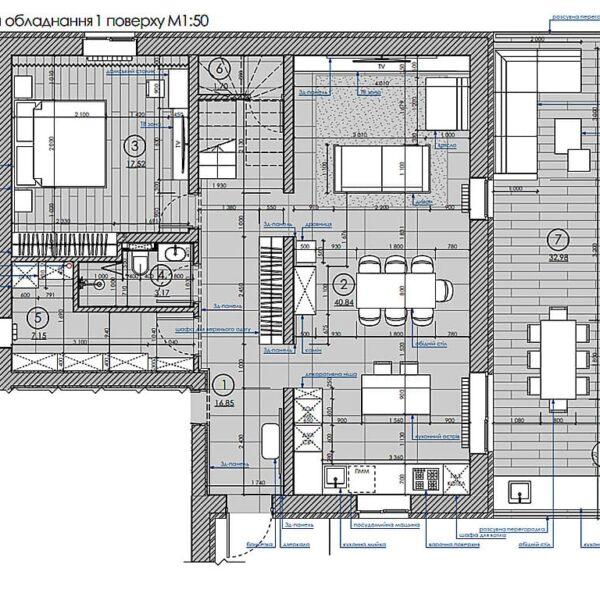 Дизайн інтер'єру двоповерхового будинку м. Вовчанськ, план розміщення меблів та обладнання 1й поверх