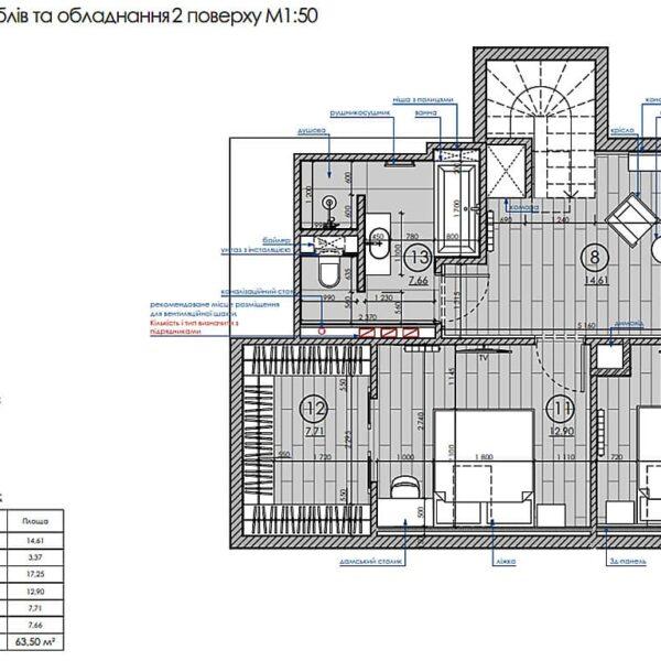 Дизайн інтер'єру двоповерхового будинку м. Вовчанськ, план розміщення меблів та обладнання 2й поверх