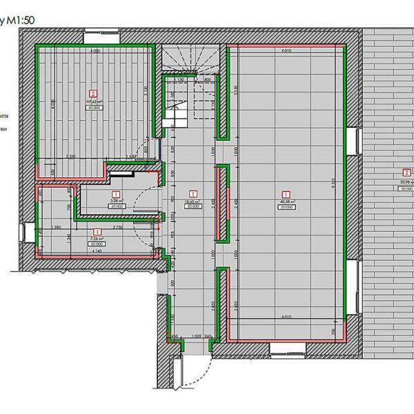 Дизайн інтер'єру двоповерхового будинку м. Вовчанськ, план план підлоги 1й поверх