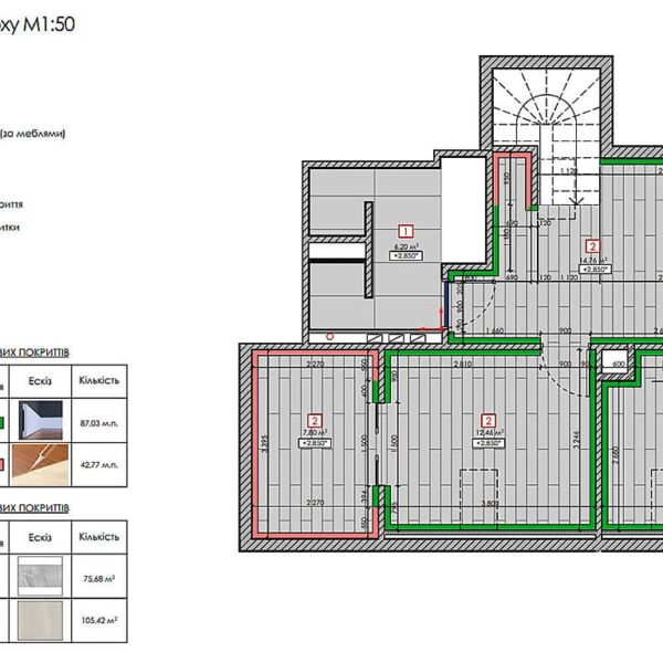 Дизайн інтер'єру двоповерхового будинку м. Вовчанськ, план підлоги 2й поверх