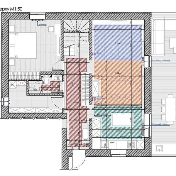 Дизайн інтер'єру двоповерхового будинку м. Вовчанськ, план теплої підлоги 1й поверх