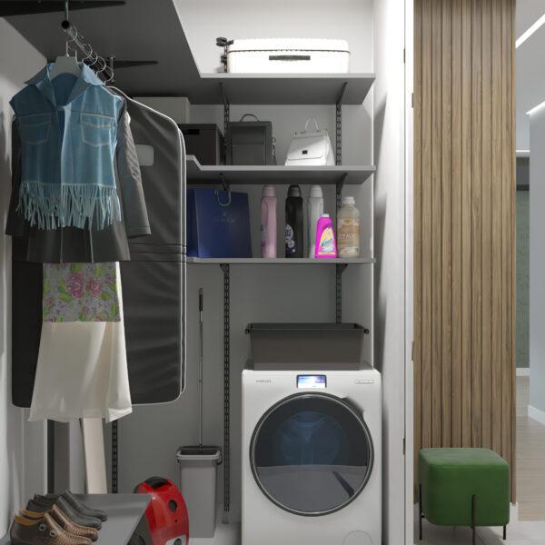 """Дизайн-проект однокімнатної квартири ЖК """"Зерновий"""", гардеробна вид збоку"""