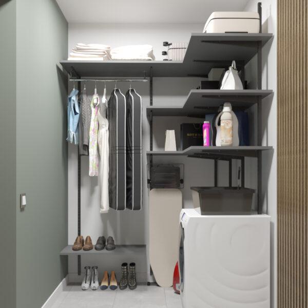 """Дизайн-проект однокімнатної квартири ЖК """"Зерновий"""", гардеробна вид спереду"""