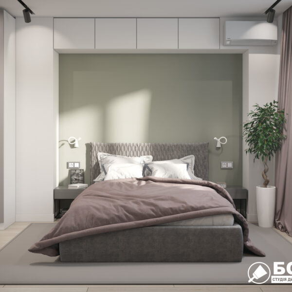 """Дизайн-проект однокімнатної квартири ЖК """"Зерновий"""", спальня вид спереду"""