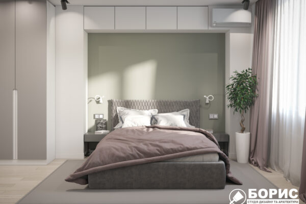 """Дизайн-проект однокомнатной квартиры ЖК """"Зерновой"""", спальня вид спереди"""