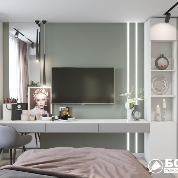 """Дизайн-проект однокімнатної квартири ЖК """"Зерновий"""", спальня вид ззаду"""