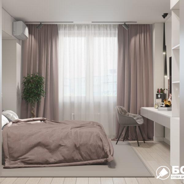 """Дизайн-проект однокімнатної квартири ЖК """"Зерновий"""", спальня вид справа"""
