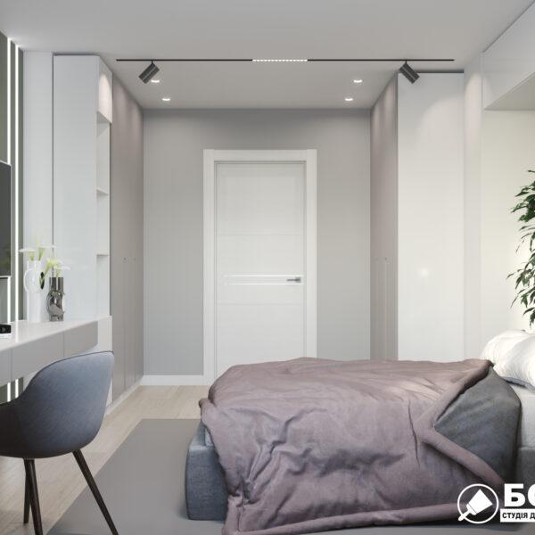 """Дизайн-проект однокімнатної квартири ЖК """"Зерновий"""", спальня вид зліва"""