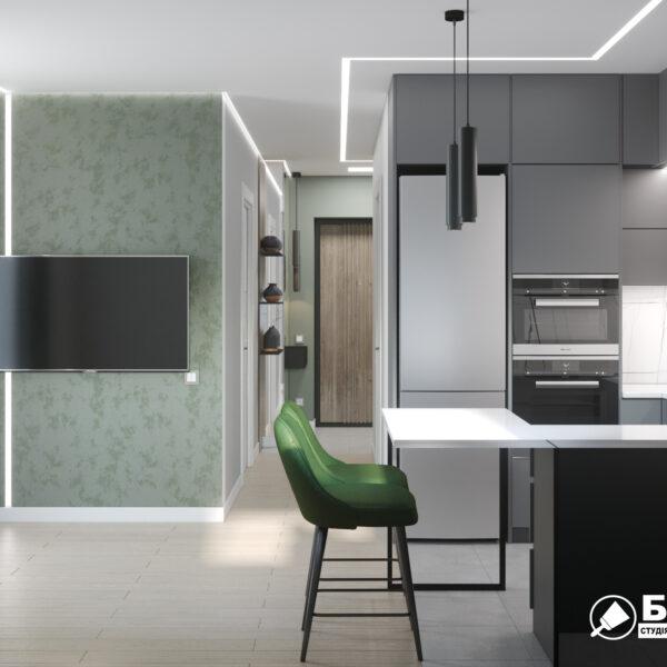 """Дизайн-проект однокімнатної квартири ЖК """"Зерновий"""", кухня вид зліва"""