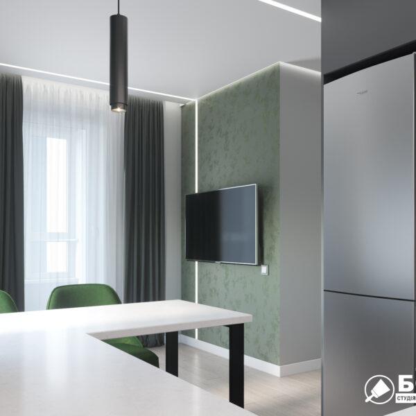 """Дизайн-проект однокімнатної квартири ЖК """"Зерновий"""", кухня вид справа"""