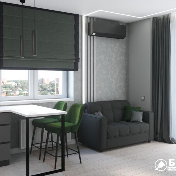 """Дизайн-проект однокімнатної квартири ЖК """"Зерновий"""", кухня, вітальня"""