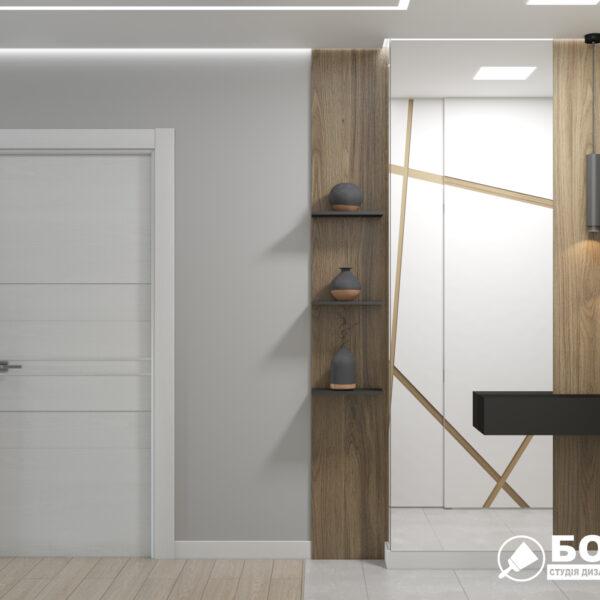 """Дизайн-проект однокімнатної квартири ЖК """"Зерновий"""", коридор вид збоку"""