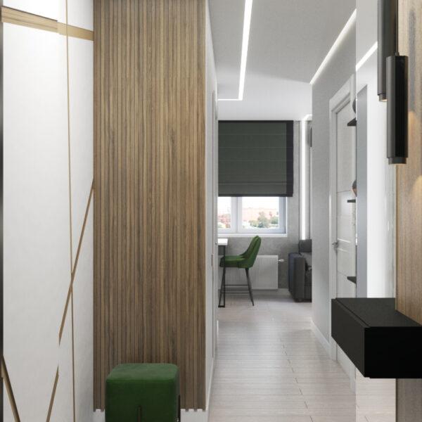 """Дизайн-проект однокімнатної квартири ЖК """"Зерновий"""", коридор вид спереду"""