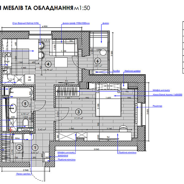 """Дизайн-проект однокімнатної квартири ЖК """"Зерновий"""", план розміщення меблів та обладнання"""