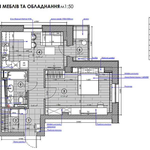 """Дизайн-проект однокомнатной квартиры ЖК """"Зерновой"""", план размещения мебели и оборудования"""