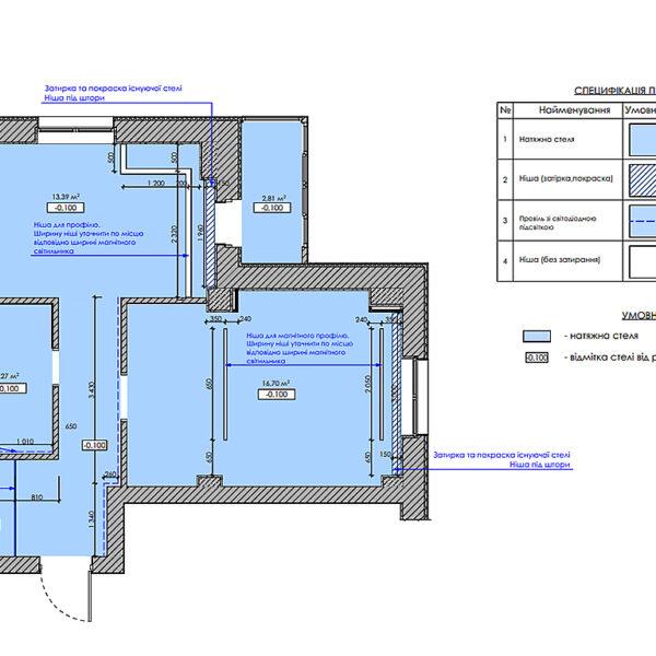 """Дизайн-проект однокімнатної квартири ЖК """"Зерновий"""", план стелі"""