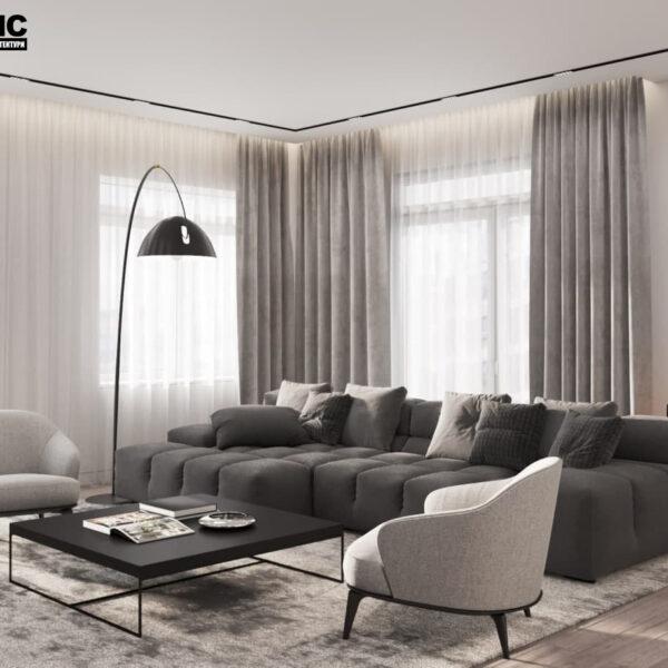 """Дизайн-проект трикімнатної квартири ЖК """"Віденський дім"""", вітальня вид збоку"""