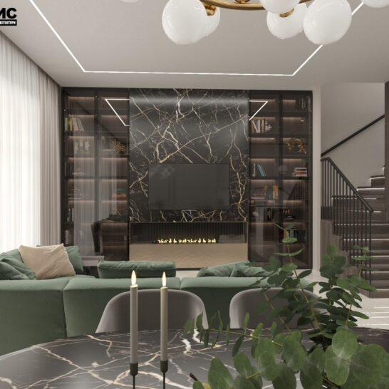 """Дизайн-проект двоповерхової квартири ЖК """"Клеменова Дача"""", вітальня вид спереду"""