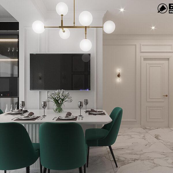"""Дизайн-проект квартири ЖК """"Німецький проект"""", кухня вид зліва"""