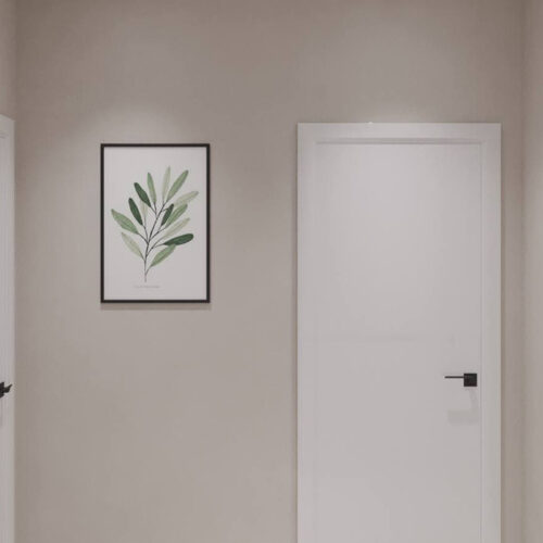 """Дизайн-проект интерьера однокомнатной квартиры ЖК """"Левада 2"""", прихожая вид на дверь"""